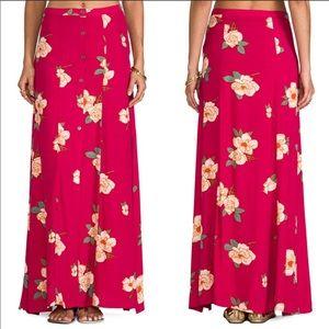 Minkpink Floral Boho Button Maxi Skirt